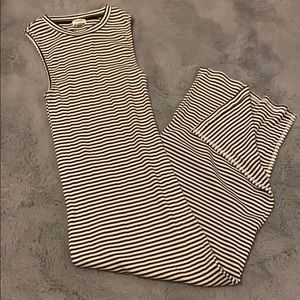 garage striped maxi dress with a side slit